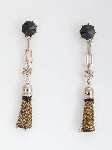 Mother's Initial Black Drop drop Earring with Zircon