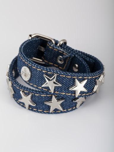 Platinum Plated Star  Bangle Blue denim
