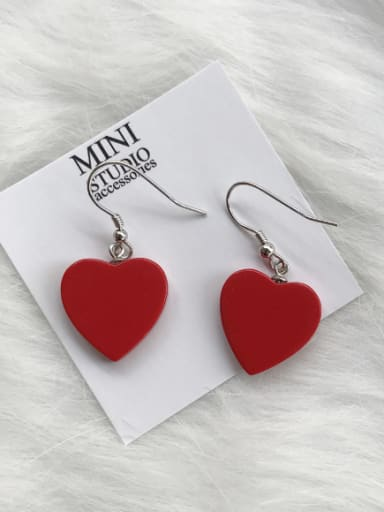 Personalized Silver Red Heart Drop drop Earring