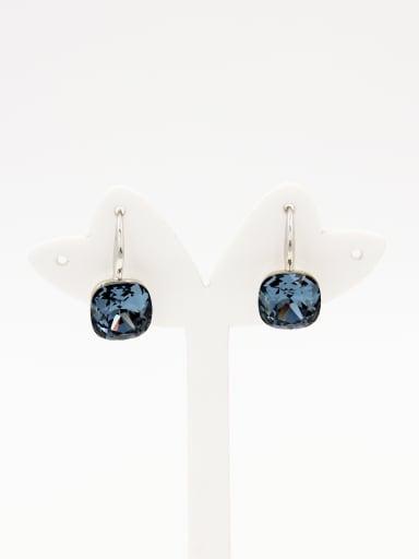 Platinum Plated Geometric Navy Swarovski Crystals Beautiful Drop drop Earring