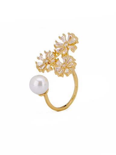 A Gold Plated Zinc Alloy Stylish Zircon Stacking Cocktail Ring Of Flower