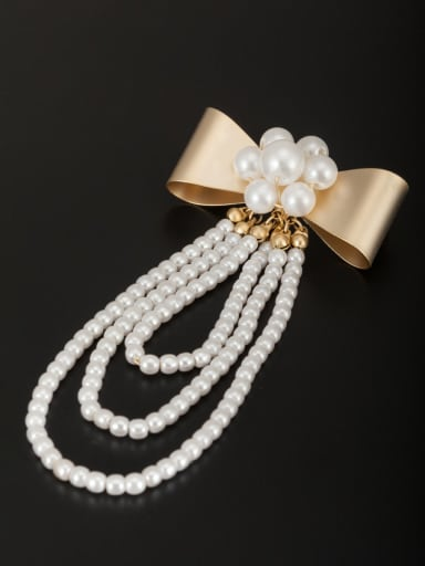 White Charm Lapel Pins & Brooche with Gold Plated Beads