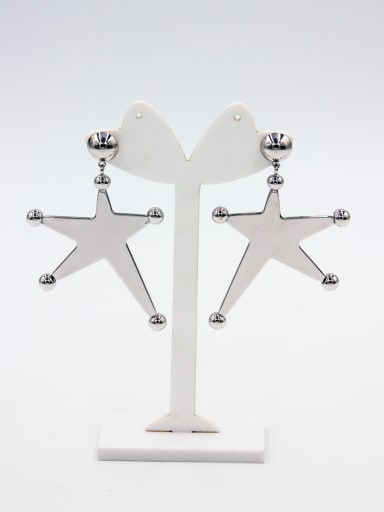 Fashion Platinum Plated Star Hoop drop Earring