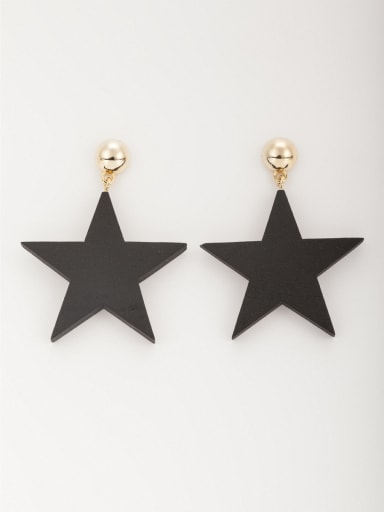 Personalized Gold Plated Wood Black Star Drop drop Earring