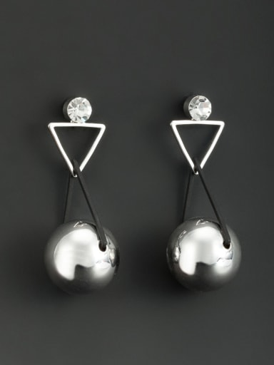 Platinum Plated Round White Beads Beautiful Drop drop Earring
