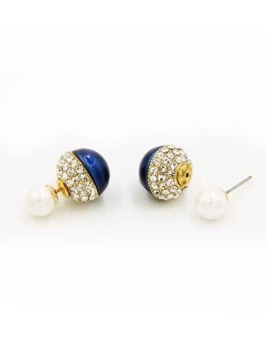 Gold Plated  Navy Rhinestone Beautiful Studs stud Earring