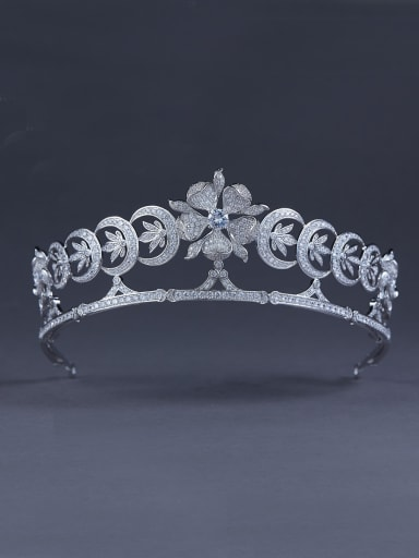Blacksmith Made Platinum Plated Zircon Flower Wedding Crown