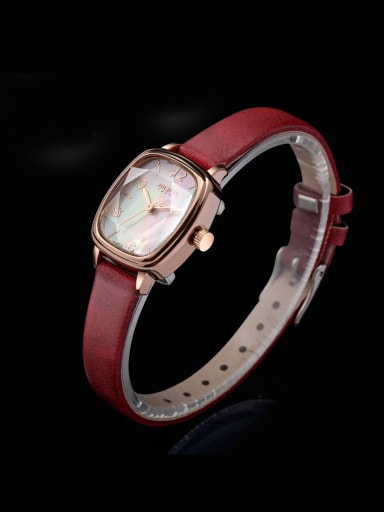 Model No A000483W-001 24-27.5mm size Alloy Square style Genuine Leather Women's Watch