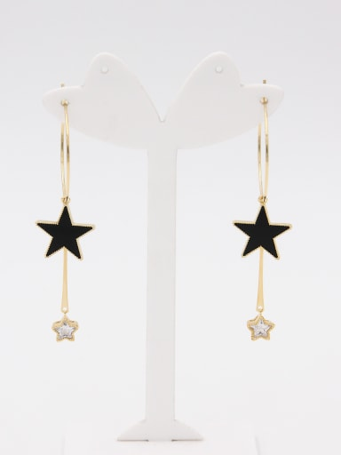 Copper Star Black Zircon Beautiful Drop hoop Earring