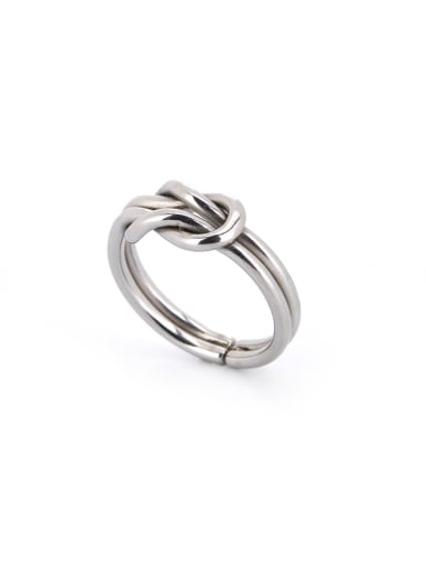 Silver color Silver-Plated Titanium Statement Band Midi Ring