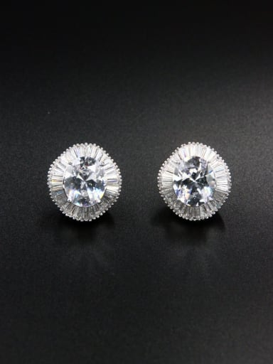 Model No LYE-117662B New design Platinum Plated Zircon Studs stud Earring in White color