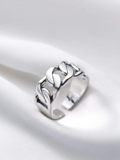 925 Sterling Silver Irregular Minimalist Chain Free Size Ring