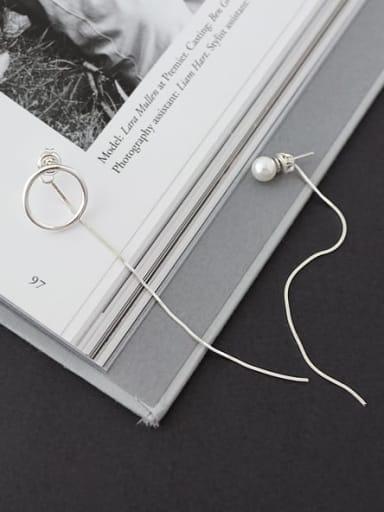 925 Sterling Silver Imitation Pearl White Tassel Minimalist Long Fringe  Threader Earring