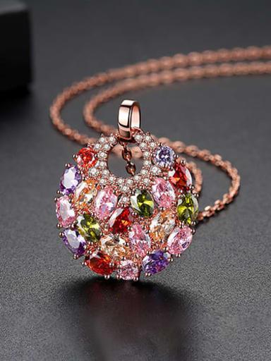 Rose gold t11d19 Copper Cubic Zirconia Luxury Multi Color Round Pendant  Necklace