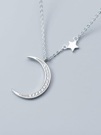 925 Sterling Silver Cubic Zirconia Moon Minimalist Necklace