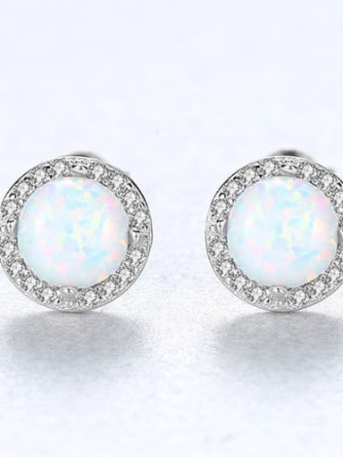 White 18e04 925 Sterling Silver Opal Round Minimalist Stud Earring