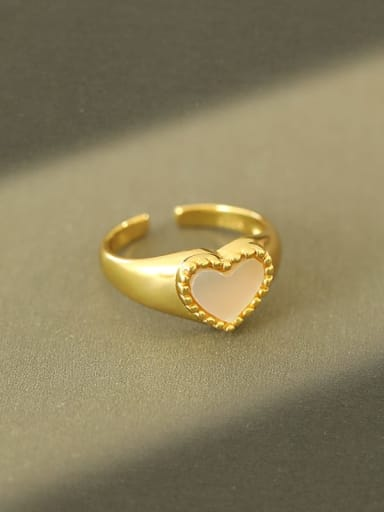 925 Sterling Silver Shell Heart Minimalist Band Ring