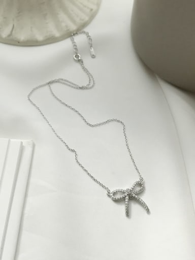 925 Sterling Silver Rhinestone bowknot Necklace