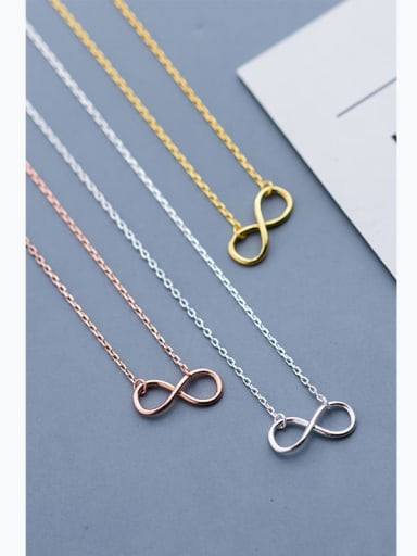 925 Sterling Silver Minimalist  Number 8 Pendant  Necklace
