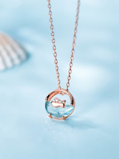 925 Sterling Silver Fashionable diamond-shaped fish simple round Necklace