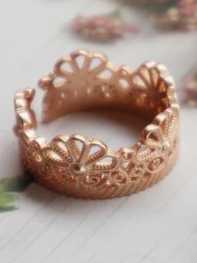 J 537 flower ring 925 Sterling Silver Flower Minimalist Free Size Midi Ring