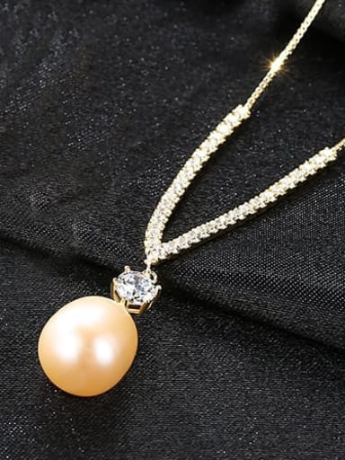 Pink 5F05 S925 Sterling Silver with 3A zircon  freshwater pearl  Necklace