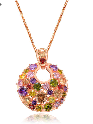Copper Cubic Zirconia Multi Color Round Luxury Necklace