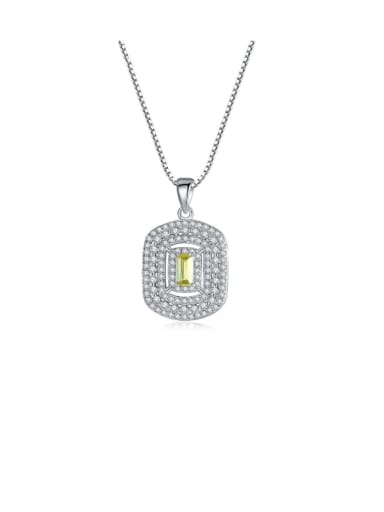 925 Sterling Silver Cubic Zirconia Luxury square pendant Necklace