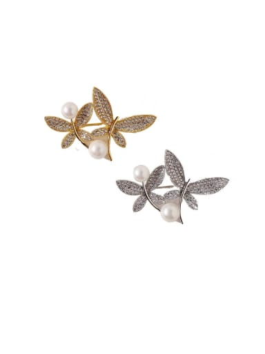 Copper Cubic Zirconia White Butterfly Luxury Brooches