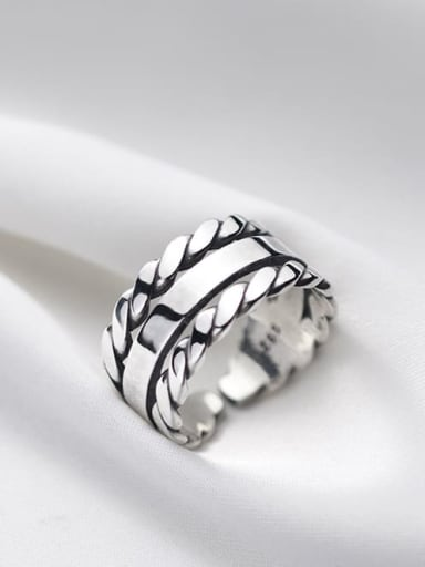 925 Sterling Silver  Vintage Woven multi-layer  Stackable Ring
