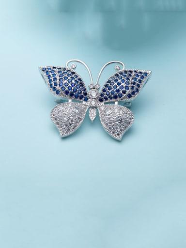 Blue T15H09 Copper Cubic Zirconia Butterfly Luxury Brooch