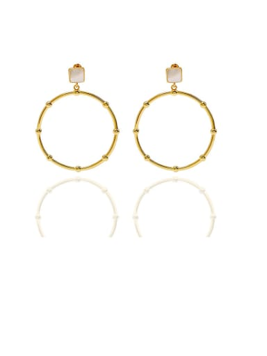 Copper Malchite  Hollow Round Minimalist Chandelier Earring