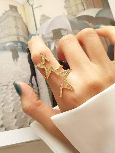 925 Sterling Silver Cubic Zirconia Star Statement  Free Size Ring