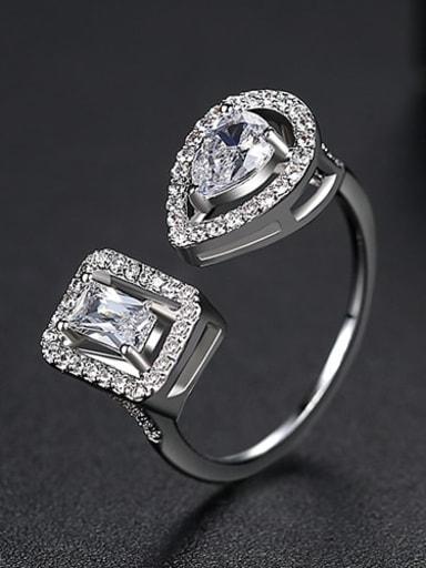 platinum Copper Cubic Zirconia  Minimalist  Geometric Band Ring