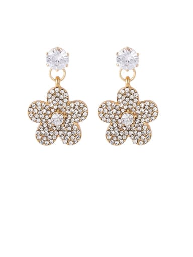 Brass Rhinestone White Flower Minimalist Drop Earring