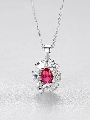 Red 20I08 925 Sterling Silver Cubic Zirconia Flower Minimalist Necklace