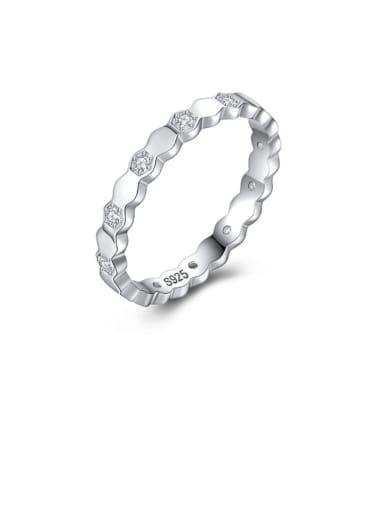 925 Sterling Silver Rhinestone Geometric Minimalist Band Ring