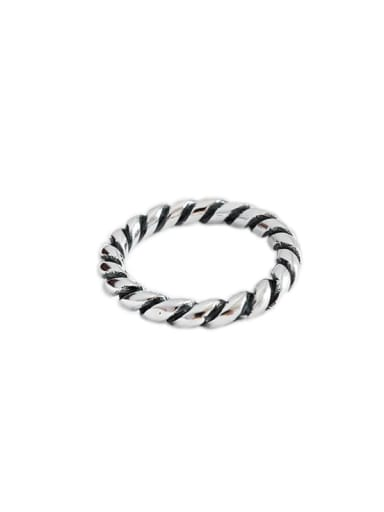 925 Sterling Silver Retro Circle Twist Free Size Rings