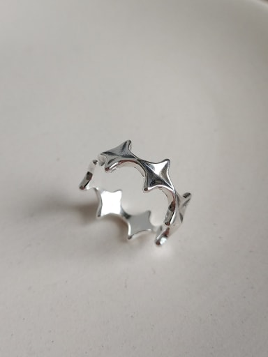 925 Sterling Silver star free size Ring