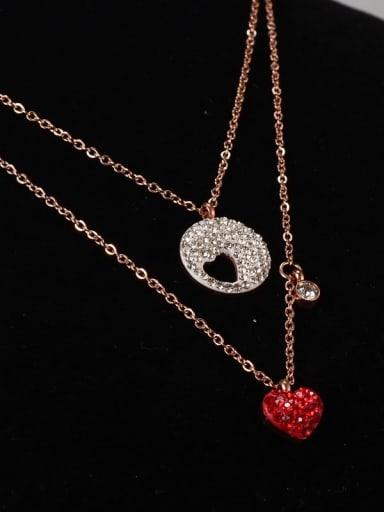 Titanium Rhinestone Heart Minimalist Multi Strand Necklace