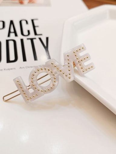 white Alloy  Cellulose Acetate Minimalist Letter Hair Pin