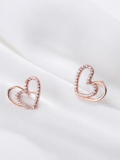 925 Sterling Silver Rhinestone Heart Minimalist Stud Earring