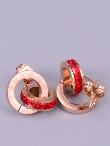 Titanium Cubic Zirconia Multi Color Round Classic Stud Earring