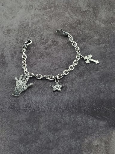 Vintage Sterling Silver With Simple Retro Hollow Chain Cross Pendant Bracelets