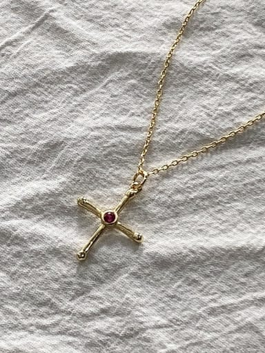 925 Sterling Silver Red  Rhinestone Cross Minimalist Regligious Necklace