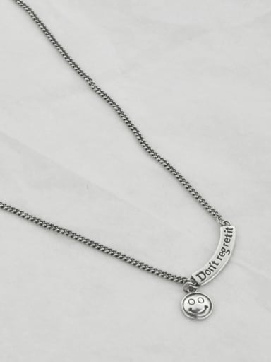 50+5cm(8.5g) Vintage Sterling Silver With Platinum Plated Fashion Smiley Necklaces