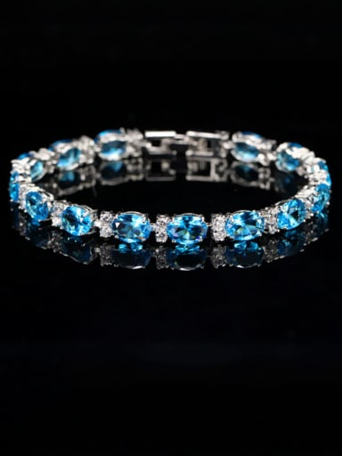 Sea blue Copper Cubic Zirconia Geometric Dainty Bracelet