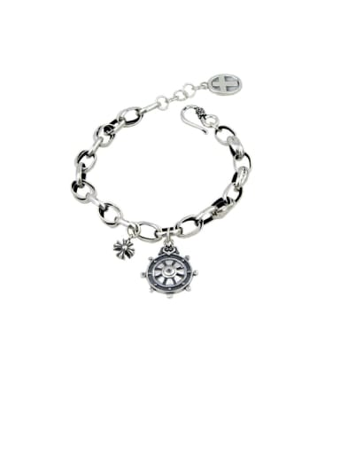 Vintage Sterling Silver With Simple Retro Hollow Chain Cross Bracelets