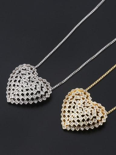 Copper Cubic Zirconia Dainty Hollow Heart  Pendant  Necklace