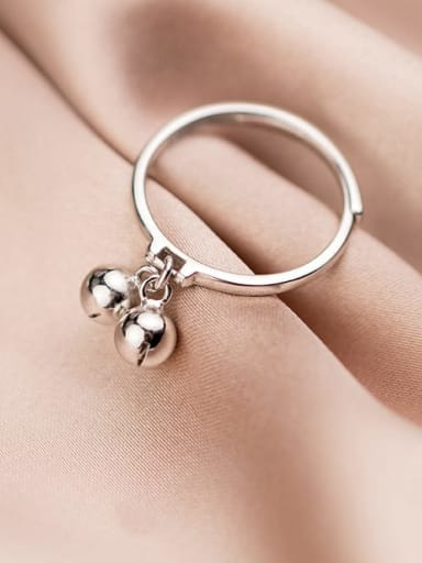 925 Sterling Silver Bell Minimalist Free Size Midi Ring
